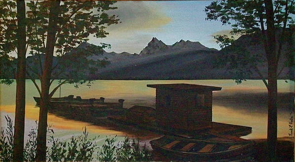Boats Mountain Peaks Morning Sun Rays Art Print featuring the painting Morning At Lake Mcdonald Glacier Park by Frank Hunter