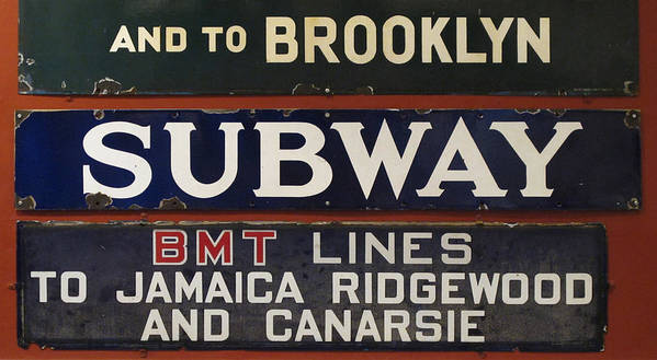 Subway Art Print featuring the photograph Old Subway Signs by Dave Mills