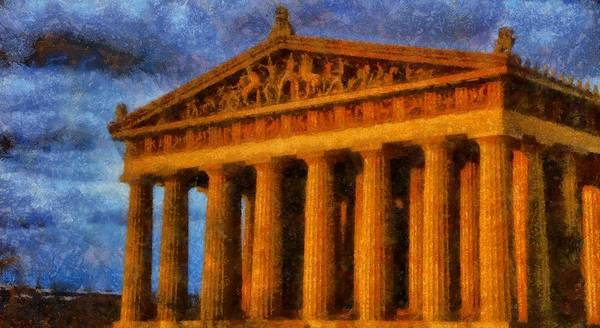 Parthenon On A Stormy Day Art Print featuring the painting Parthenon On A Stormy Day by Dan Sproul