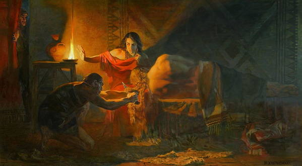 History Art Print featuring the painting Samson And Dalida by Victoria Kharchenko