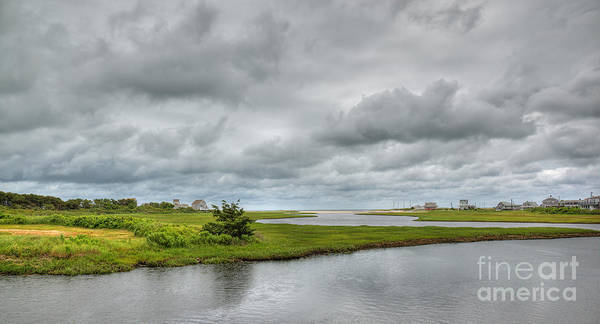 Sunshine And Heavy Clouds Over Dennisport Art Print featuring the photograph Sunshine And Heavy Clouds Over Dennisport by Michelle Wiarda-Constantine