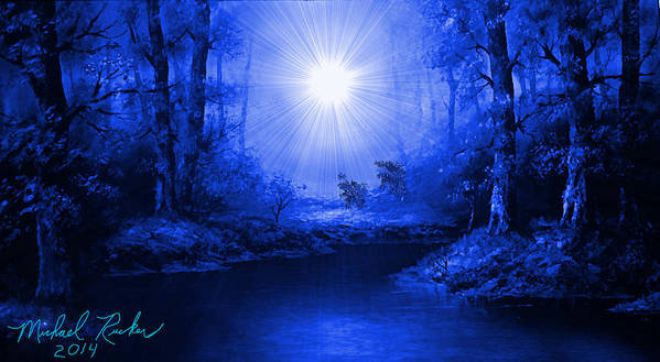 Sapphire Forest Art Print featuring the painting The Sapphire Forest by Michael Rucker