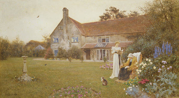 Garden Art Print featuring the painting The Sundial by Thomas James Lloyd