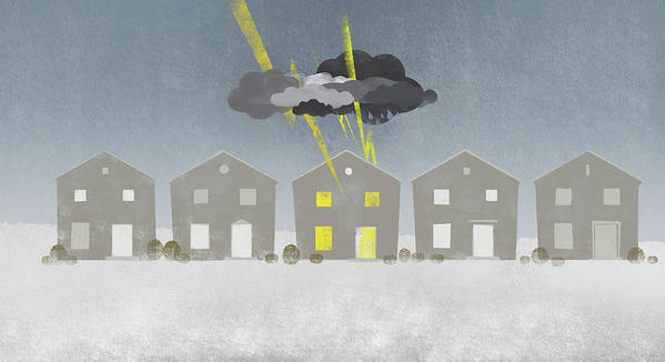 Horizontal Art Print featuring the digital art A Row Of Houses With A Storm Cloud Over One House by Jutta Kuss