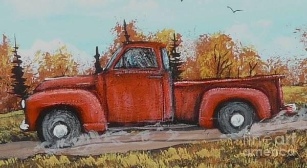 Painting Art Print featuring the painting Old Red Truck Going Down The Road by Bobbylee Farrier