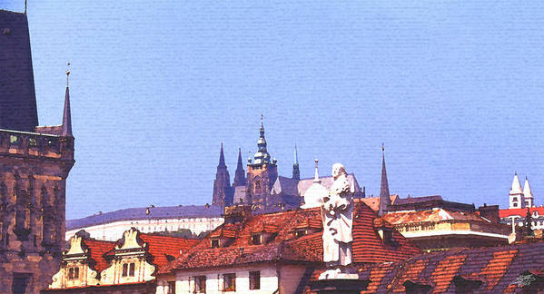 Steve Huang Art Print featuring the digital art Prague Castle by Steve Huang