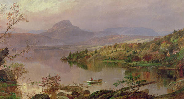 American Landscape; Boat; Mountain; Franklin County; West-central Maine; Spring; Rugged; Solitary; Hudson River School;sugarloaf From Wickham Lake Print featuring the painting Sugarloaf From Wickham Lake by Jasper Francis Cropsey