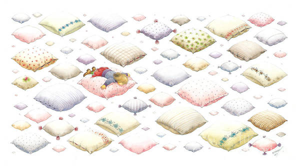 Dream Sky Sleep Heaven White Art Print featuring the painting Lisas Journey01 by Kestutis Kasparavicius