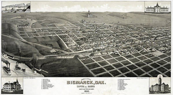 1880s Print featuring the photograph Bismarck, North Dakota, The Capital by Everett