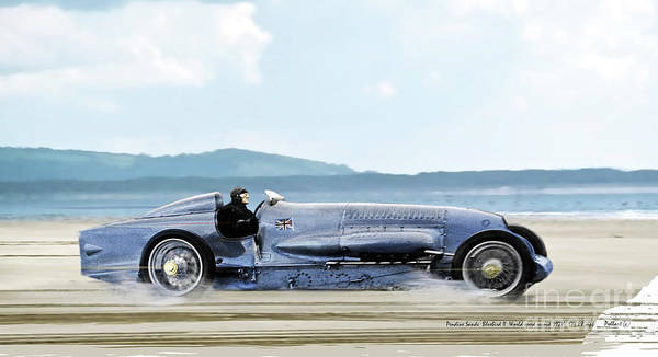 Bluebird Ii Art Print featuring the mixed media Bluebird II, 1928, World Record Land Speed Record At Pendine Sands, Wales, 178.88 Mph by Thomas Pollart