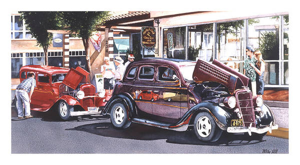 1935 Ford 1932 Car Automobile Jocks Show Cruise In Maroon Red Street Rod Hot Duece Art Print featuring the painting Bodies And Souls by Mike Hill