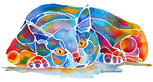 Cat Art Print featuring the painting Calypso Cat by Jo Lynch