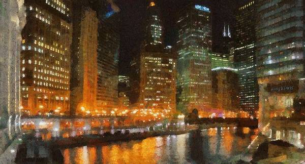 Chicago Art Print featuring the painting Chicago At Night by Jeff Kolker