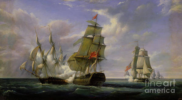Combat Art Print featuring the painting Combat Between The French Frigate La Canonniere And The English Vessel The Tremendous by Pierre Julien Gilbert