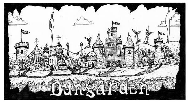 Fantasy Art Print featuring the drawing Dungraden by Michael Sean Piper