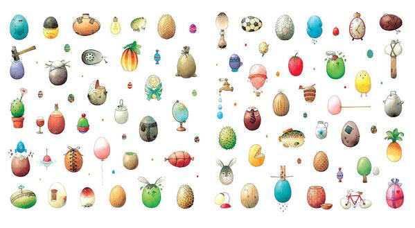 Eggs Easter Art Print featuring the painting Eastereggs by Kestutis Kasparavicius
