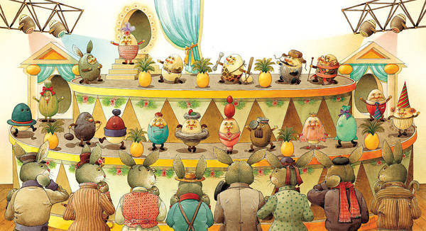 Egs Easter Art Print featuring the painting Eggs Fashion by Kestutis Kasparavicius