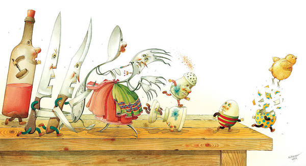 Eggs Easter Liberty Art Print featuring the painting Eggs Liberty by Kestutis Kasparavicius