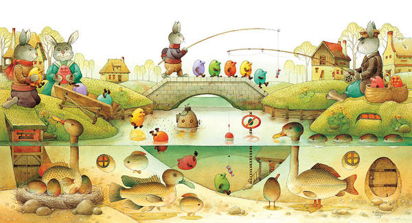 Eggs Easter Rabbit Art Print featuring the painting Eggstown by Kestutis Kasparavicius