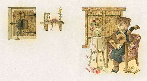 Bears Melancholy Magic Glamour Brown Love Music Art Print featuring the painting Florentius The Gardener19 by Kestutis Kasparavicius