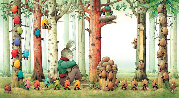 Eggs Easter Forest Art Print featuring the painting Forest Eggs by Kestutis Kasparavicius