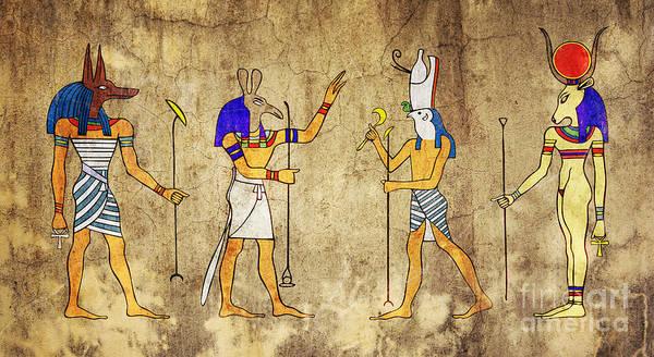 Anubis Art Print featuring the digital art Gods Of Ancient Egypt by Michal Boubin