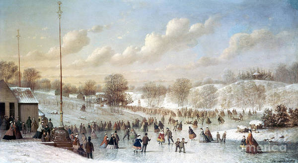 1865 Art Print featuring the painting Ice Skating, 1865 by Granger