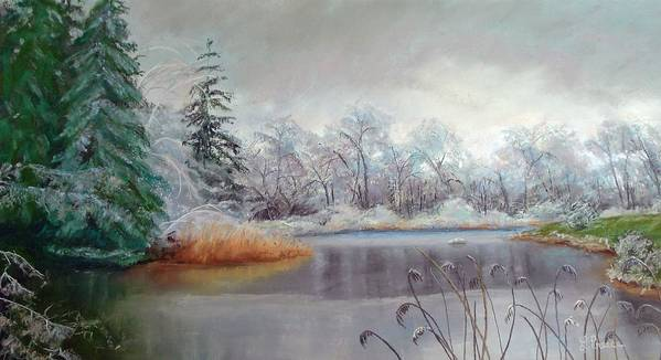 Ice Art Print featuring the painting Icy Connecticut Morning by Linda Preece