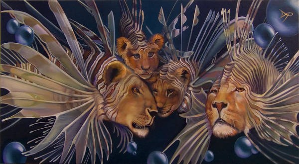 Lion Art Print featuring the painting Kindred Lionfish by Patrick Anthony Pierson