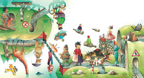 Travel Lanscape Green Art Print featuring the painting Lazinessland06 by Kestutis Kasparavicius