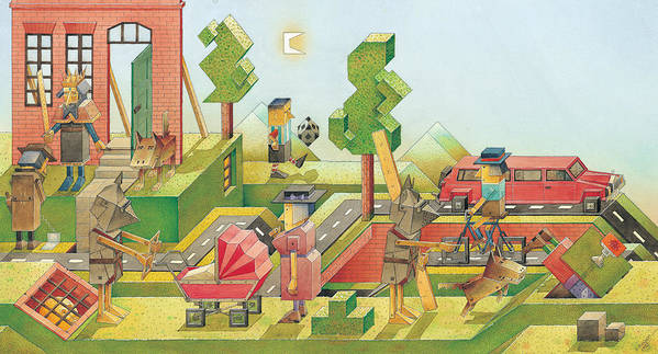 Red Green Figure Landscape Art Print featuring the painting Lisas Journey08 by Kestutis Kasparavicius