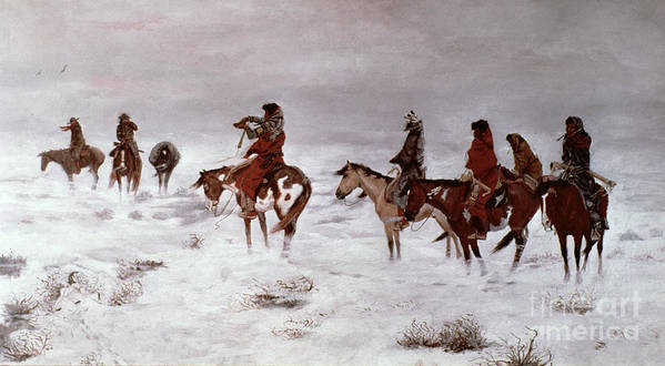 'lost In A Snow Storm - We Are Friends' 1888 Art Print featuring the painting 'lost In A Snow Storm - We Are Friends' by Charles Marion Russell