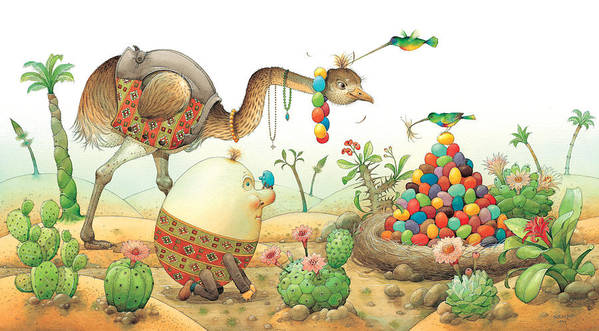 Eggs Easter Birds Art Print featuring the painting Minieggs And Maxiegg by Kestutis Kasparavicius