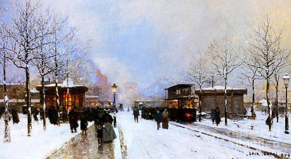 A View Facing South East From Place De La Porte Maillot To The Arc De Triomphe; Art Print featuring the painting Paris In Winter by Luigi Loir