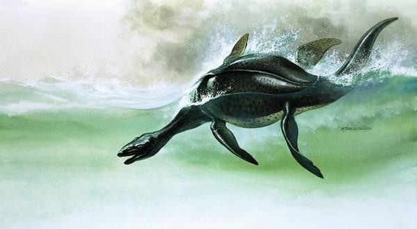 Plesiosaurus; Dinosaur; Dinosaurs; Sea; Water; Swimming; Prehistoric Animals; Pre-historic Animals Art Print featuring the painting Plesiosaurus by William Francis Phillipps