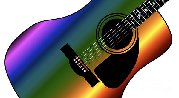 Guitar Art Print featuring the digital art Rainbow Western Guitar by Bigalbaloo Stock