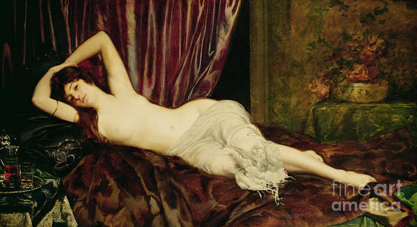 Reclining Print featuring the painting Reclining Nude by Henri Fantin Latour