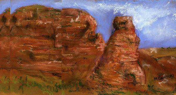 Desert Art Print featuring the painting Red Rocks by Marilyn Barton