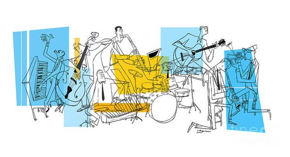 Jazz Art Print featuring the digital art The Octet by Sean Hagan