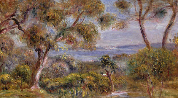 The Sea At Cagnes Print featuring the painting The Sea At Cagnes by Pierre Auguste Renoir