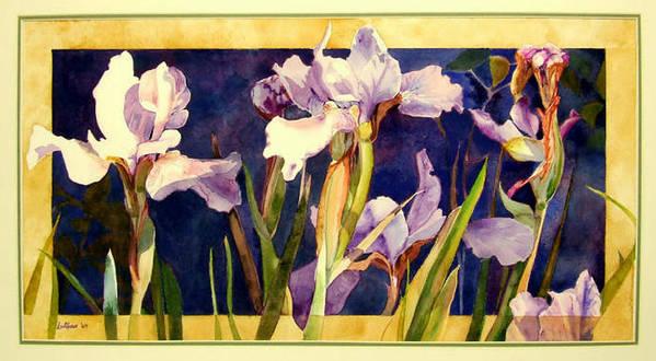 Irises Art Print featuring the painting Three Gossips by Linda Marie Carroll