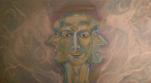 Face Art Print featuring the painting Tripartite by Jessica Mason