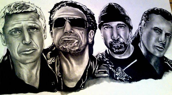 U2 Art Print featuring the drawing U2 by Pauline Murphy