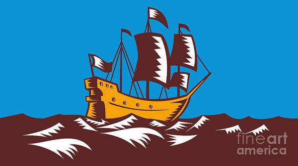 Ship Art Print featuring the digital art Tall Sailing Ship Retro Woodcut by Aloysius Patrimonio