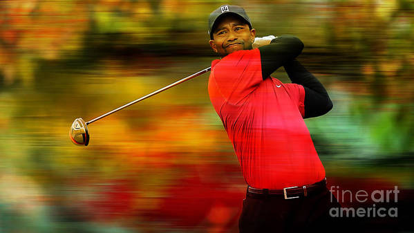 Tiger Photographs Print featuring the mixed media Tiger Woods by Marvin Blaine