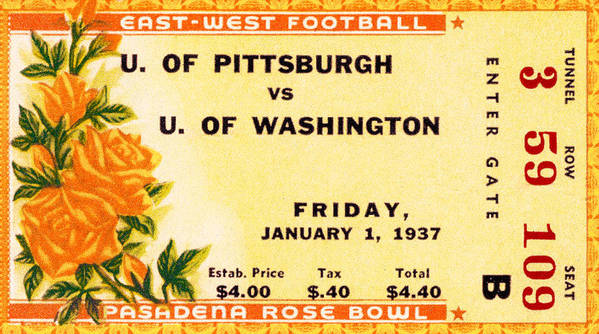 Tticket Art Print featuring the photograph 1937 Rose Bowl Ticket by David Patterson