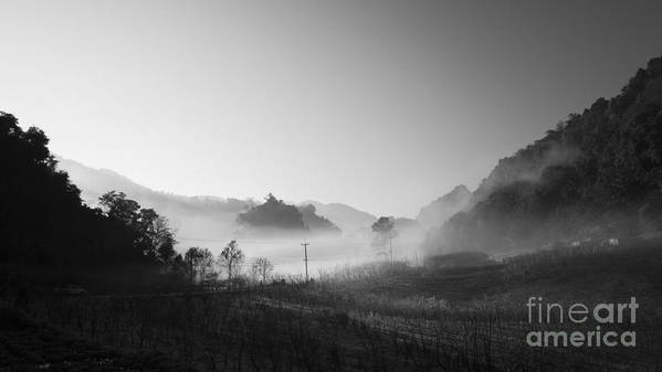 B&w Art Print featuring the photograph Mist In The Valley by Setsiri Silapasuwanchai