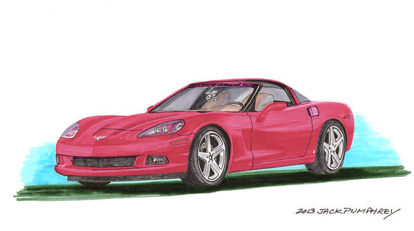 Watercolor Art By Jack Pumphrey Of The 2007 Chevrolet Corvette C 6 Which Is A Sports Car Produced By The Chevrolet Division Of General Motors Introduced For The 2005 Model Year Art Print featuring the painting 2007 Corvette C 6 by Jack Pumphrey