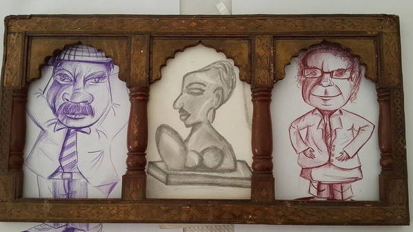 3 Handmade Charcoal Sketching In Which 2 Are Colored Violet And Brown & One Black On Cartridge Sheet.antique Woodan Frame From Rajasthan Art Print featuring the drawing 3 In 1 by Palli Ritu