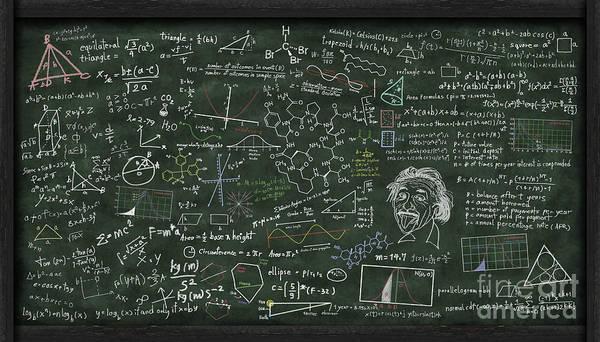 Algebra Art Print featuring the digital art Maths Formula On Chalkboard by Setsiri Silapasuwanchai